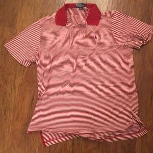 Ralph Lauren Pima cotton polo top crimson stripe L